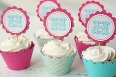 Custom Cupcake Toppers Pink and Turquoise Teal Cupcake Toppers Bridal Party Initial Cupcake Toppers - Set of 12. $12.00, via Etsy.