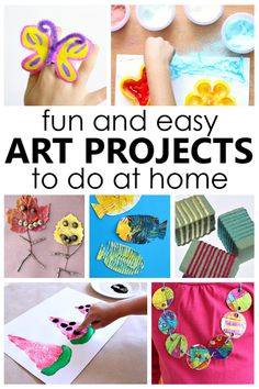 Fun and easy art projects to do at home with kids using basic paint and supplies you can find easily at the store or in nature. Preschool Art Activities, Painting Activities, Scout Activities, Easy Art Projects, Projects For Kids, Nature Collage, Sensory Art, Abstract Watercolor Art, Art Lesson Plans