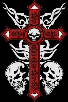 by Buckobeck on DeviantArt Tattoo Design Drawings, Skull Tattoo Design, Skull Tattoos, Tribal Cross Tattoos, Archangel Tattoo, Small Star Tattoos, Cross Wallpaper, Skull Stencil, Psychedelic Drawings