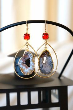 Divinely Radiant Starry Night Geode Druzy Earring  by VintagePinch, $49.99