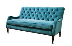 Peacock blue velvet tufted sofa