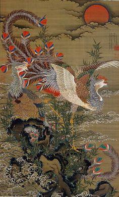 伊藤若冲 旭日鳳凰図 1755年