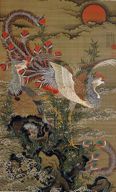Rising Sun and Phoenix 1755 By Ito Jakuchu Replica Paintings on Canvas - Reproduction Gallery Japanese Art Styles, Japanese Artwork, Japanese Painting, Famous Art Paintings, Art Chinois, Trending Art, Art Japonais, Oil Painting Reproductions, Impressionism Art
