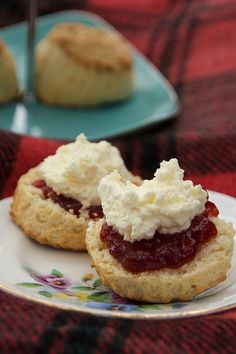 pure breakfast or afternoon tea bliss! Scones with jam and clotted cream.