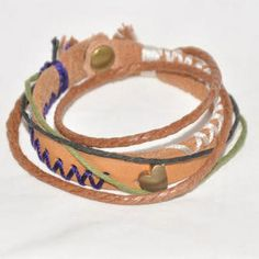 Genuine-Leather Stitched Bracelet