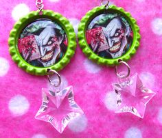 Batman Joker Clown Prince Earrings by hobbittownjewelry on Etsy