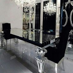 Silver Room Living Black White Luxury Dining Tables Modern Table Rooms Decor Design Projects