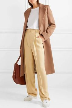 Pastel-yellow crepe Concealed button, hook and zip fastening at front viscose, elastane; Summer Work Outfits, Office Outfits, Casual Outfits, Suit Fashion, Fasion, Fashion Outfits, Work Dresses For Women, Victoria Beckham, Yellow Pants
