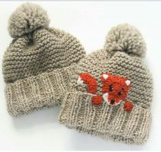 Mommy and Me Matching Hats Fox Hat Knit Hats Mother Daughter hats Pom Pom Hats Matching Outfits Woman Hat Unisex Kids Hat Cute hats Knitted Hats Kids, Knitting For Kids, Knitting Projects, Baby Knitting, Knitting Patterns, Knit Hats, Crochet Fox, Cute Crochet, Kids Winter Hats