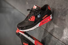 NIKE AIR MAX 90 25TH ANNIVERSARY 'INFRARED BLACK CROC' BLACK/BLACK-INFRARED-WHITE available at www.tint-footwear.com/nike-air-max-90-25th-anniversary-infrared-black-croc-006 nike air max 90 25th anniversary infrared black croc retro running sneaker kicks tint footwear studio