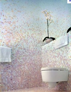 pink and blue mosaic tile bathroom; these are exactly the colors I want Pink Bathroom Tiles, Pink Tiles, Mosaic Bathroom, Small Bathroom, Bathroom Ideas, Modern Luxury Bathroom, Bathroom Design Luxury, Minimalist Bathroom, Contemporary Bathrooms