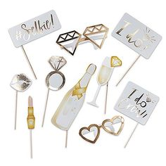 Fun Wedding Photo Booth Props on a Stick - Gold Foil Bridal Shower Photos, Gold Bridal Showers, Wedding Photo Booth Props, Photo Props, Budget Wedding, Wedding Planning, Wedding Ideas, Red Wedding, Accessoires Photobooth