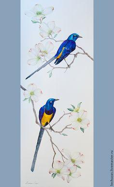 Купить Акварель Скворцы прилетели. Рис.2 - акварель, птицы, живопись акварелью, интерьерная картина