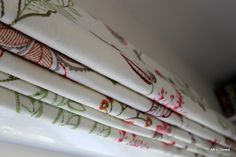 Embroidered fabric handsewn roman blinds www.mrssteed.co.uk