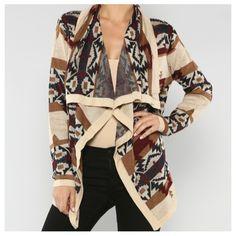 brown aztec sweater #swoonboutique