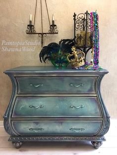 Bombe Chest Painted Green Gold Purple Furniture #ad #paintedfurniture