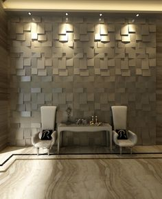 add a modern textured look to an empty wall surface by installing this set of 10 decorative wall panels designed to be cultivated into a work of art - Textured Wall Designs
