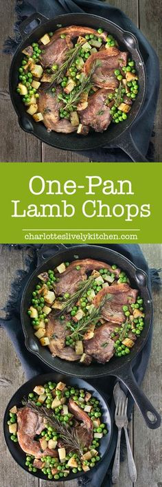 Lamb chops with crispy potatoes and minty peas is perfect for a quick dinner for two. Ready in half an hour and made in only one pan, so there's hardly any washing up! It's also free from many common allergens such as gluten, dairy and eggs, so perfect if Quick Dinners For Two, One Pot Dinners, Easy Dinners, Lamb Recipes, Cooking Recipes, Midweek Meals, Crispy Potatoes, Le Diner, Lamb Chops