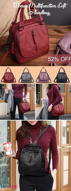 【US$38.15】Women High-end Multi-function Soft PU Leather Handbag Double Layer Large Capacity Backpack #LargeCapacity #HandbagsAndPurse #Multi-functional #RedBackpacks