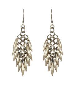 Shakti Earrings:http://www.allsaints.com/women/jewellery/allsaints-shakti-earring-ww019a/?colour=676=335>>    The Shakti Earring features antique silver finish spikes on a flat hand link chain.