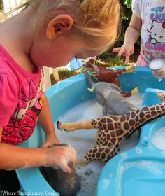 Animal Washing Sensory Bin for Kids! Simple hands on activity for preschoolers and toddlers! Jungle Activities, Animal Activities, Hands On Activities, Sensory Activities, Play Activity, Preschool Activities, Sensory Bins, Sensory Play, Zoo Animals