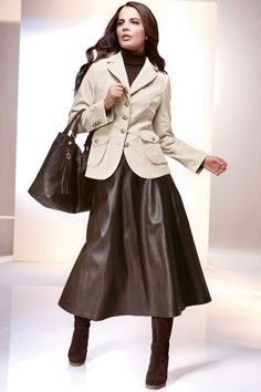 The word leather skirt can have a tingling effect on the minds of men. These skirts can be considered as […] Seventies Fashion, 70s Fashion, Skirt Fashion, Fashion Outfits, Womens Fashion, Brown Leather Skirt, Leather Midi Skirt, Leather Dresses, Black Leather