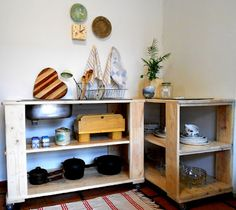 Kitchen corner unit made from recycled pallets. By Jasper & George