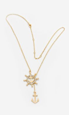 Nautical Lariat Necklace in Gold