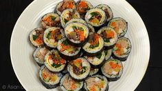 It's my fav of fave picnic food, as all other Koreans! I have so many lovely memories about kimbap. The origin of kimbap is from Japanese sushi . Korean Dishes, Korean Food, Korean Egg Roll, Gimbap, Seonkyoung Longest, Sauteed Carrots, Asian Recipes, Ethnic Recipes, Japanese Recipes