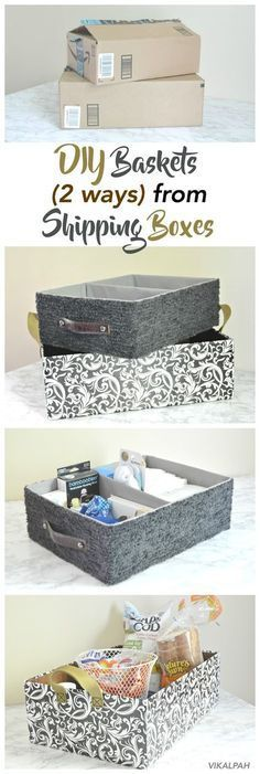 Whether you have clutter that needs organizing on shelves, in closets, in cupboards, or in plain sight, these 11 Best DIY Storage Bins will do the job! Storage The 11 Best DIY Storage Bins Cardboard Shipping Boxes, Cardboard Storage, Diy Storage Boxes, Cardboard Box Crafts, Craft Room Storage, Storage Ideas, Storage Baskets, Craft Rooms, Dyi Baskets