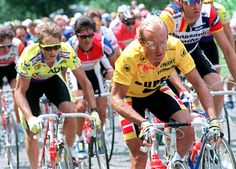 In what would prove to be the closest race in history, American Greg LeMond, left, rallied in the final stage to catch Laurent Fignon, right, of France, to claim his second title.