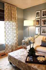 Guest bedroom ideas...I love the pictures at the head of the Bed...black and white would be my choice.