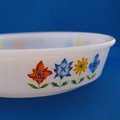 Pyrex dish with wrap around flower design.