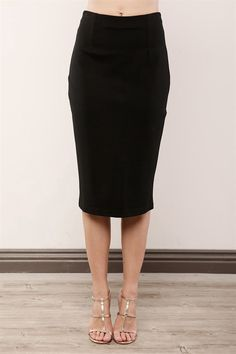 Express your beauty, strength, femininity and professional look in this classic pencil skirt.  With a high waistline, slim form-fitting silhouette, modest midi length, invisible back zip closure, comfortable stretchy fabrication, center seam back with a vent, hook-eye closure, and subtle pleats in the front and back, this elegant chic piece is a true gem and staff picked!     <Pencil skirt / fall skirt / black skirt / Midi skirt>