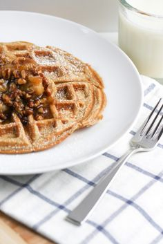 Buttermilk Waffles with Roasted Pecan and Banana Syrup via @foodnfocus