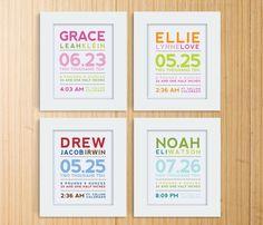 modern typography birth announcement