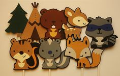 Woodland Animal Cupcake Toppers - 8 Forest Characters - Camping Theme Birthday Party Decoration - First Birthday Party - Adventurer Decor 1st Birthday Party Invitations, Girls Birthday Party Themes, First Birthday Parties, Birthday Party Decorations, First Birthdays, Farm Animal Party, Animal Cupcakes, Baby Shower, Camping Theme