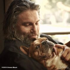 Such an adorable photo of a man (Anson Mount) and his best friend (Mac)