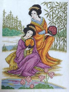 Japanese women hand embroidery completed embroidery counted cross stitch art embroidered painting framed embroidery gift for home Japanese Embroidery, Embroidery Art, Cross Stitch Embroidery, Bead Embroidery Patterns, Cross Stitch Art, Cross Stitching, Cross Stitch Patterns, Christmas Embroidery Patterns, Beautiful Japanese Girl