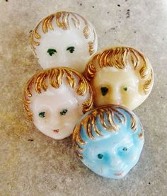 Vintage Baby Doll Face Buttons  La Mode Set of 4  by SwirlFiberArt, $16.00