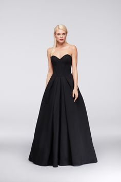 An elegant prom dress | Strapless Sweetheart Black Ball Gown with Corset Bodice by Truly Zac Posen available exclusively at David's Bridal
