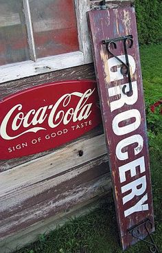 "How to make a vintage ""Grocery"" sign - FunkyJunkInteriors"