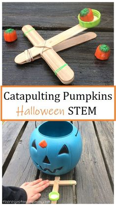 Teaching Tips Kids love making craft stick catapults! This simple Halloween STEM activity becomes a simple Halloween game kids will love. Autumn Activities, Stem Activities, Toddler Activities, Activity Games, Halloween Games For Kids, Halloween Fun, Halloween Activities For Preschoolers, Halloween Camping, Preschool Halloween