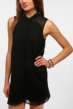 Sparkle & Fade Spiked Collar Chiffon Shirtdress #UrbanOutfitters