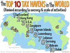 tax havens By Andy Warner Tax Haven, Cayman Islands, Singapore, Dubai, Earth, Random, Places, Casual, Lugares