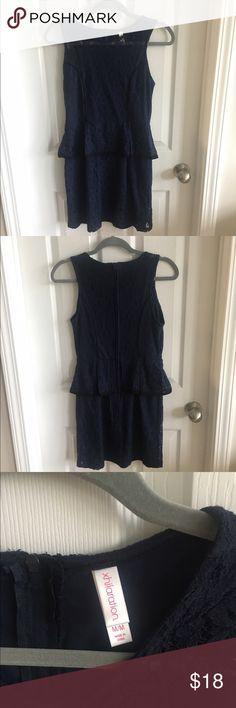 Lace Peplum Dress Navy lace Peplum dress with black trim, perfect for date night! Xhilaration Dresses Mini