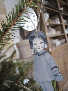 vintage paper doll ornaments