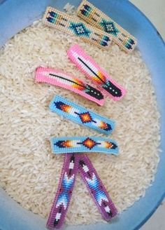 Native American Seed Bead Patterns | Beaded... Barrettes, hair ties.and pins