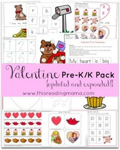 FREE Valentine Pre-K/K Pack {Updated and Expanded!} | This Reading Mama