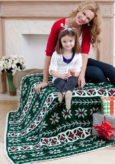 Red Heart® Poinsettia Throw #christmas #crochet #pattern